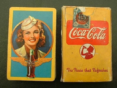 coca cola early playing cards coke pin up deck. Black Bedroom Furniture Sets. Home Design Ideas