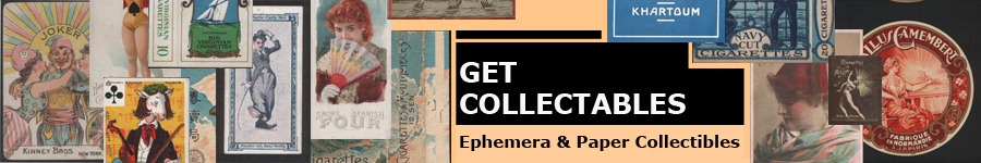 Ephemera & Paper Collectibles, We are specialist dealers in all forms of paper ephemera.We maintain a large amount of collectible  in a wide variety of areas at all times, Old cigarette-packets & tobacco labels, cigar-bands, cigar-box labels, cigarette-insert-cards, old playing-cards, old postcards, world-wide telephone cards, old matchboxes and bookmatch covers, hotel luggage labels, Airline & shipping luggage labels, badges, pin-buttons, Cheese labels, Razor-blade wrappers, Drinks labels ( beers, whisky, wine, etc ) all covering such topics as advertising, judaica, magic, transport, glamour & pin-up art, military, movies/films, royalty, celebrities, patriotic, ethnic, sports (golf, cycling, olympics, boxing, billiards, etc,etc) cats, dogs, Advertising Our collections of old Playing Cards and old cigarette insert cards is extremely large, and so not all items are listed,  so do please ask if you can not see what you want, we might still have it in stock. We are uk ephemera and paper dealer .